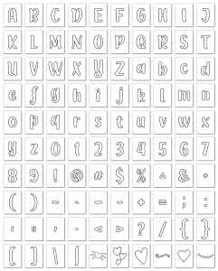 Zen PLR Alphabets, Numbers, and Punctuation Modern Romance White Outlined Graphic