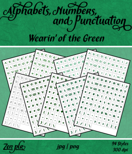 Zen PLR Alphabets, Numbers, and Punctuation Wearin' of the Green Front Cover