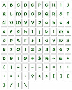 Zen PLR Alphabets, Numbers, and Punctuation Wearin' of the Green Glitter Non-Outlined