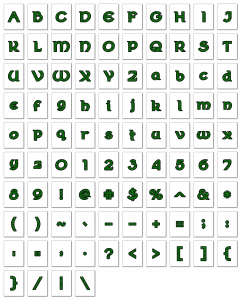 Zen PLR Alphabets, Numbers, and Punctuation Wearin' of the Green Glitter Outlined