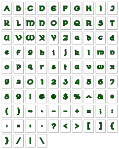 Zen PLR Alphabets, Numbers, and Punctuation Wearin' of the Green Linen Outlined