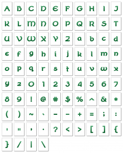 Zen PLR Alphabets, Numbers, and Punctuation Wearin' of the Green Ombre Non-Outlined