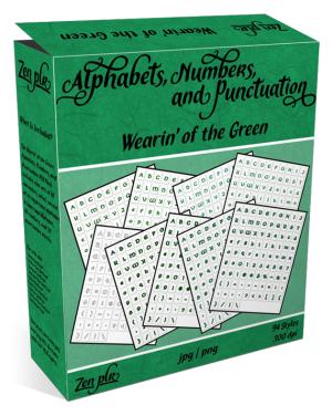 Zen PLR Alphabets, Numbers, and Punctuation Wearin' of the Green Product Cover