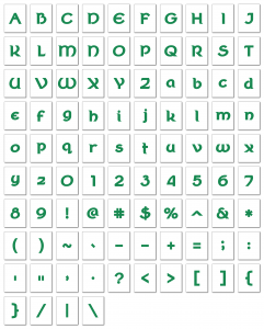 Zen PLR Alphabets, Numbers, and Punctuation Wearin' of the Green Textured Non-Outlined