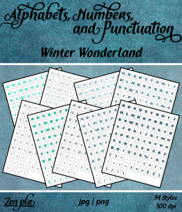 Zen PLR Alphabets, Numbers, and Punctuation Winter Wonderland Front Cover
