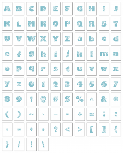 Zen PLR Alphabets, Numbers, and Punctuation Winter Wonderland Light Blue Non-Outlined