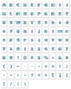 Zen PLR Alphabets, Numbers, and Punctuation Winter Wonderland Light Blue Outlined