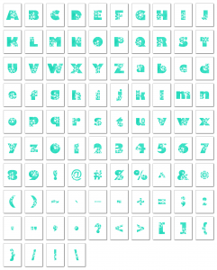 Zen PLR Alphabets, Numbers, and Punctuation Winter Wonderland Turquoise Non-Outlined