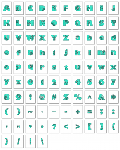 Zen PLR Alphabets, Numbers, and Punctuation Winter Wonderland Turquoise Outlined