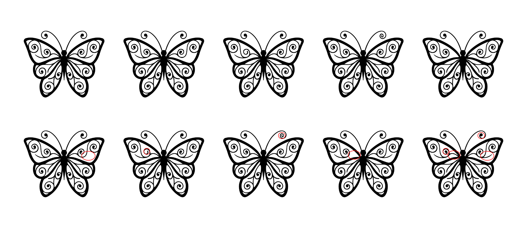 Zen PLR Beautiful Butterflies Journal Templates Upgrade Find the Differences Butterfly 05