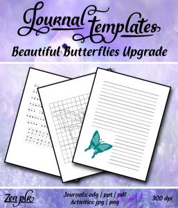 Zen PLR Beautiful Butterflies Journal Templates Upgrade Front Cover