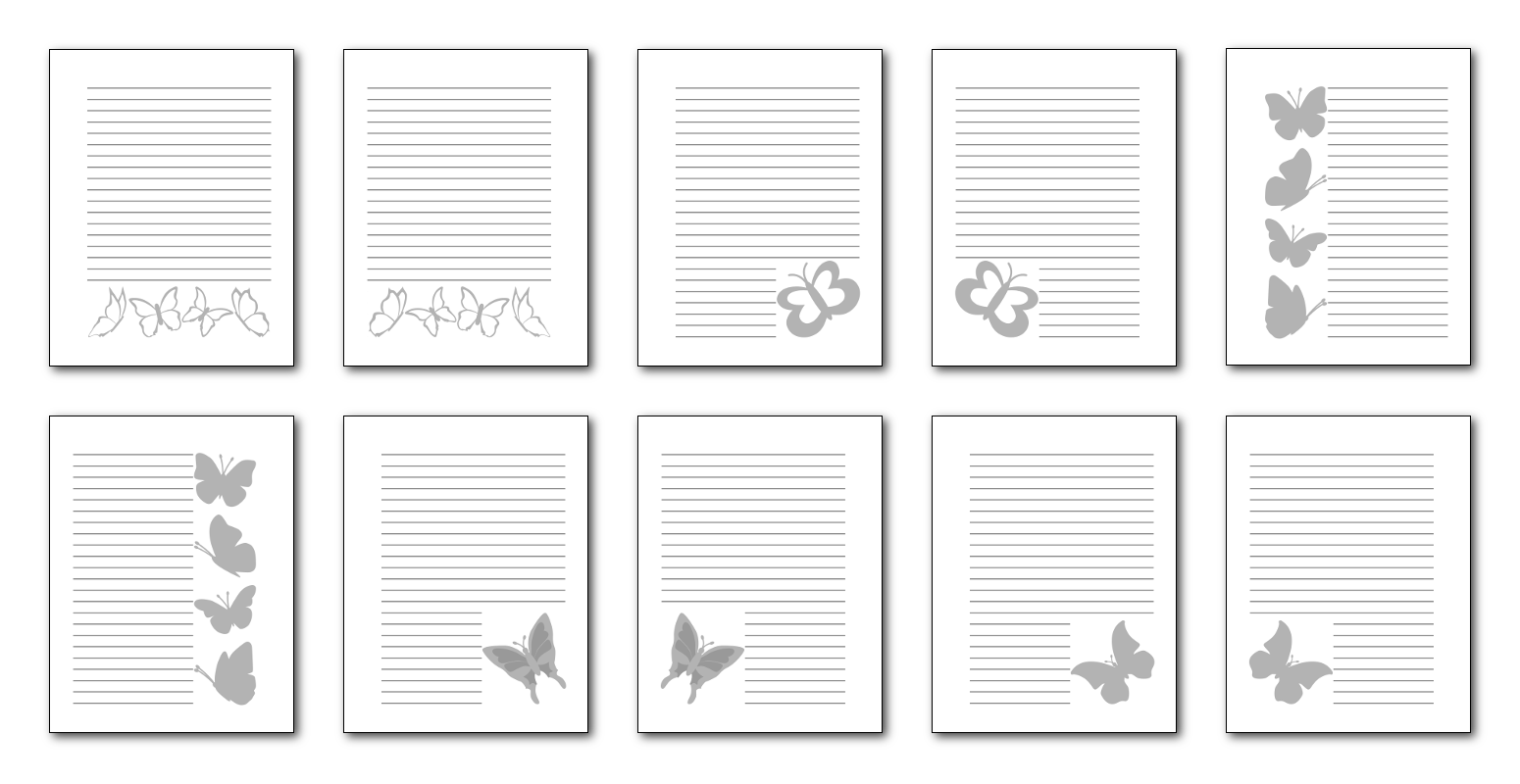 Zen PLR Beautiful Butterflies Journal Templates Upgrade Journal Pages Grayscale Print