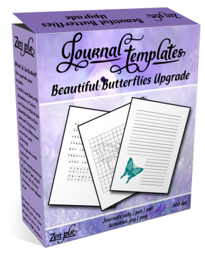 Zen PLR Beautiful Butterflies Journal Templates Upgrade Product Cover