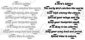 Zen PLR Bonus for ColorMePositivePLR Birds Coloring Book Kit A Birds Advice Solid Outline