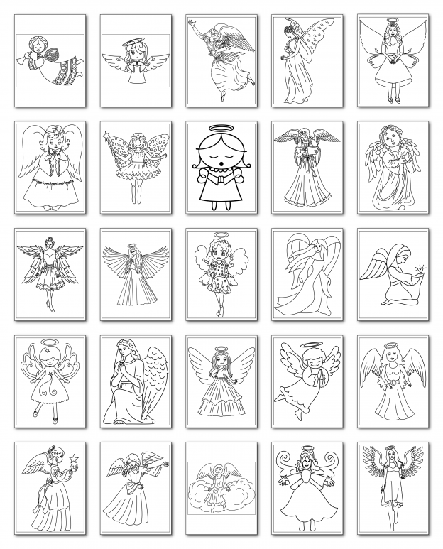 Zen PLR Coloring Pages Angels All Graphics