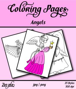 Zen PLR Coloring Pages Angels Front Cover