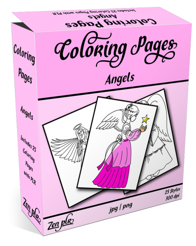 Zen PLR Coloring Pages Angels Product Cover