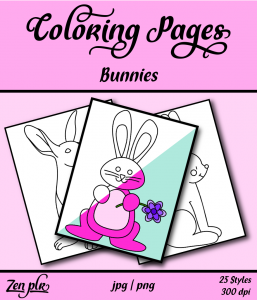 Zen PLR Coloring Pages Bunnies Front Cover