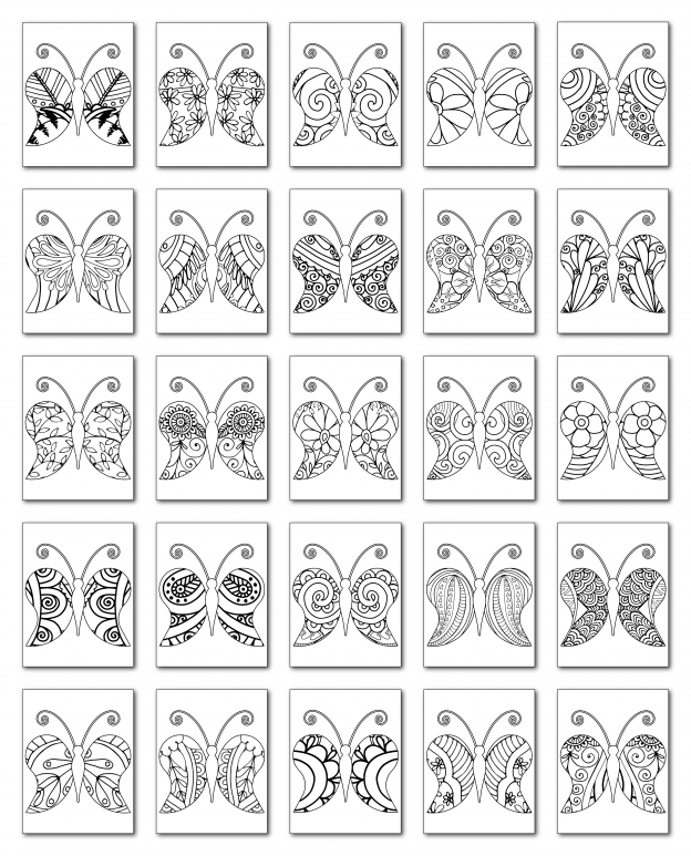 Zen PLR Coloring Pages Butterflies Volume 01 All Graphics