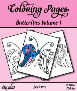 Zen PLR Coloring Pages Butterflies Volume 01 Front Cover