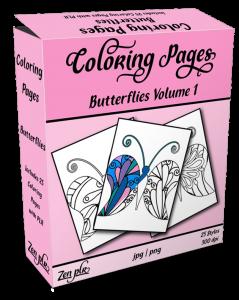 Zen PLR Coloring Pages Butterflies Volume 01 Product Cover