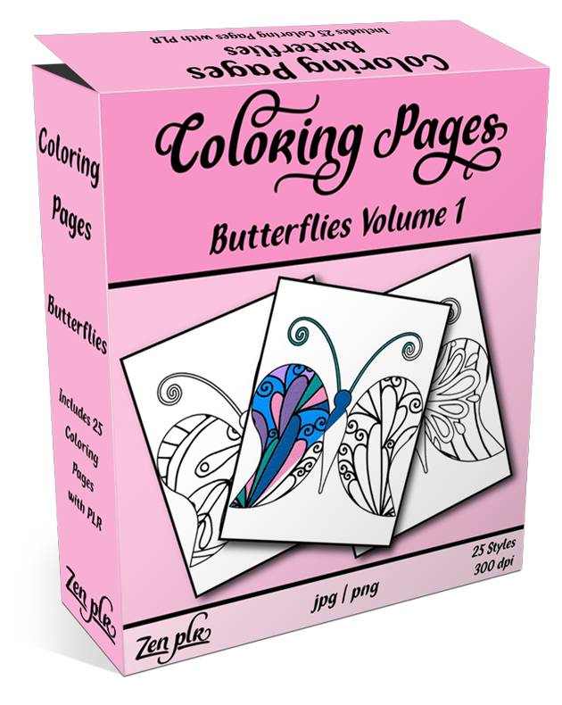 Zen PLR Coloring Pages Butterflies Volume 01 Product Cover