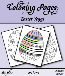 Zen PLR Coloring Pages Easter Yeggs Front Cover