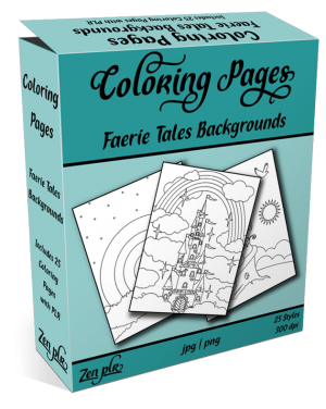 Zen PLR Coloring Pages Faerie Tales Backgrounds Product Cover