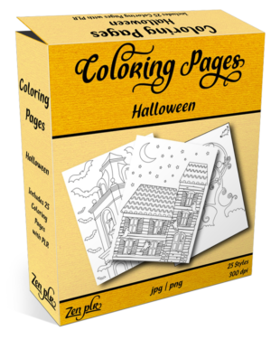 Zen PLR Coloring Pages Halloween Product Cover