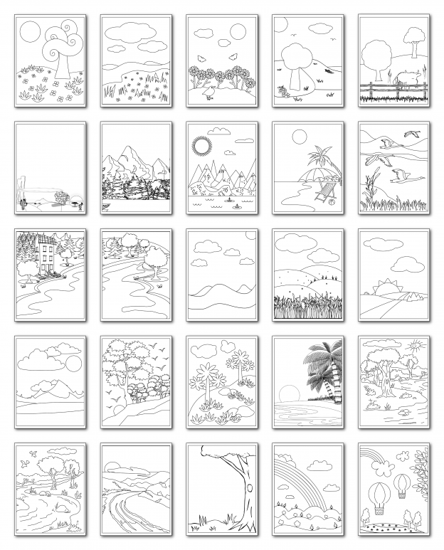 Zen PLR Coloring Pages Landscapes All Graphics