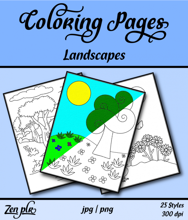 Zen PLR Coloring Pages Landscapes Front Cover