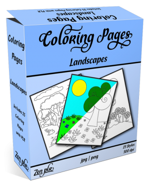 Zen PLR Coloring Pages Landscapes Product Cover