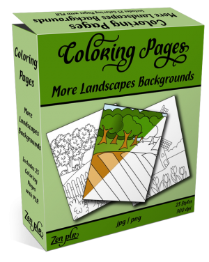 Zen PLR Coloring Pages More Landscapes Backgrounds Product Cover