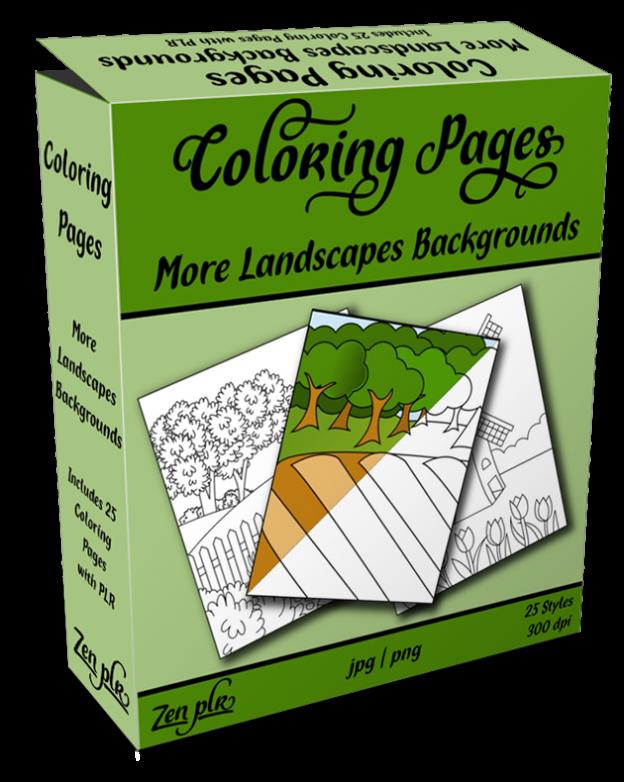 Zen PLR Coloring Pages More Landscapes Backgrounds Product Cover