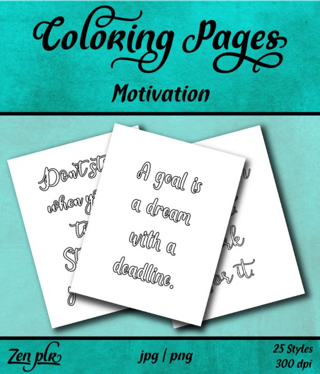 Zen PLR Coloring Pages Motivation Front Cover