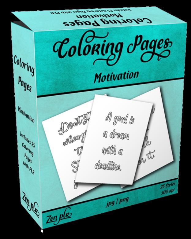 Zen PLR Coloring Pages Motivation Product Cover