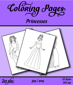 Zen PLR Coloring Pages Princesses Front Cover