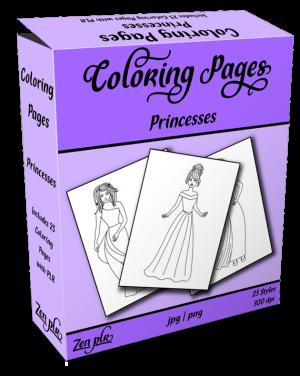 Zen PLR Coloring Pages Princesses Product Cover