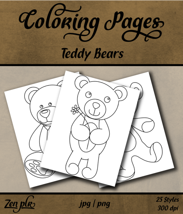 Zen PLR Coloring Pages Teddy Bears Front Cover