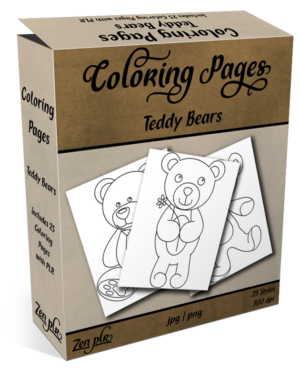 Zen PLR Coloring Pages Teddy Bears Product Cover