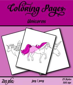 Zen PLR Coloring Pages Unicorns Front Cover