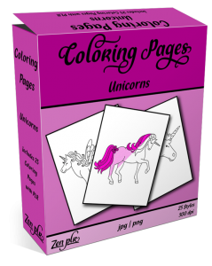 Zen PLR Coloring Pages Unicorns Product Cover