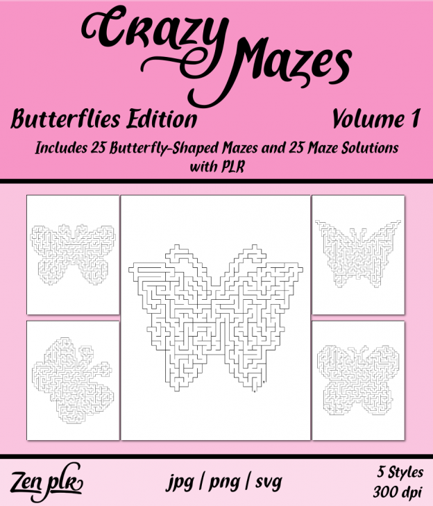 Zen PLR Crazy Mazes Butterflies Edition Volume 01 Front Cover