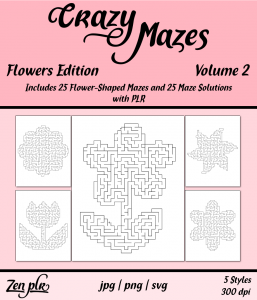 Zen PLR Crazy Mazes Flowers Edition Volume 02 Front Cover