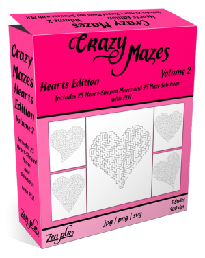 Zen PLR Crazy Mazes Hearts Edition Volume 02 Product Cover