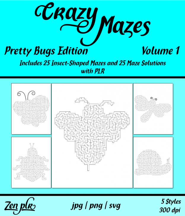 Zen PLR Crazy Mazes Pretty Bugs Edition Volume 01 Front Cover