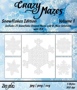 Zen PLR Crazy Mazes Snowflakes Edition Volume 01 Front Cover