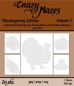 Zen PLR Crazy Mazes Thanksgiving Edition Volume 01 Front Cover