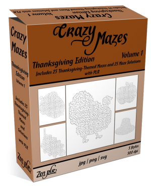 Zen PLR Crazy Mazes Thanksgiving Edition Volume 01 Product Cover