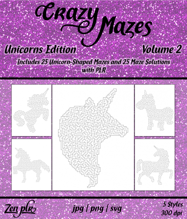 Zen PLR Crazy Mazes Unicorns Edition Volume 02 Front Cover